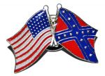 Large Crossed Confederate And Union Flags Badge